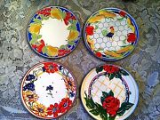 Set Of 4 Neiman Marcus Rose Pear Rooster Floral Enamel Plates 9 Diameter