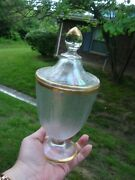 Antique Vtg Bohemian Gold Iridescent Lidded Chalice Compote Empoli Candy Dish