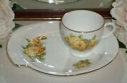 Vintage Taylor And Kent Snack / Tennis Set Yellow Roses Cup And Plate