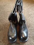 Royal Navy 1970s Issue Deck Boots Black Leather Commando Sole Cold War Falklands