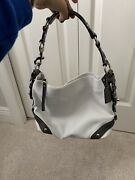 Coach White And Grey Leather Hobo Purse Carly Slouchy Shoulder Bag Handbag