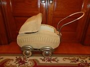 Large Unique Vintage Wicker Doll Baby Stroller, Carriage, Antique