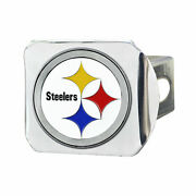 Pittsburgh Steelers Heavy Duty Chrome Metal Hitch Cover With 3d Color Emblem