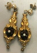 Antique Tested 14k Gold , Garnets And Pearl Ornate Drop Earrings