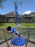 Glass Beaker Water Pipe - Phoenix - 12 Inches Tall And 9mm Extra Thick Blue
