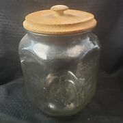 Vintage Planter's Peanuts Red Pennant 5c Bags Salted Large Glass Advertising Jar