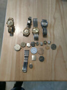 Vintage Wind Up Wrist Watches And Parts