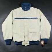 Vintage Woolrich Mens M Tall Beige Lightweight Coat Full Zip Made In Usa Nwd