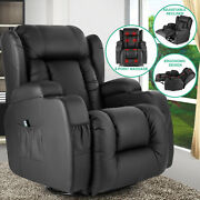 Oversize Leather Massage Chair Recliner 360°heat Rocking Vibrate W/control Black