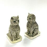 Novelty Cat With Emerald Pair Salt And Pepper Shaker Pot 925sterlingsilverplated