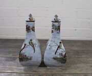 Pair Of Antique Masons Oriental Floral And Bird Design Lidded Vases.