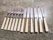 Gh Sterling Silver English Fish Set 12 Pcs Knives And Forks Flatware A2
