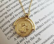 925 Sterling Silver Brave Fighter Gold Coin Pendant Necklace For Women 15-17