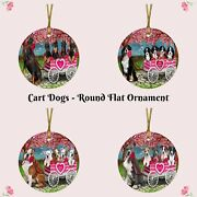 I Love Valentine Dog Cat In A Cart Pet Photo Round Flat Christmas Tree Ornament