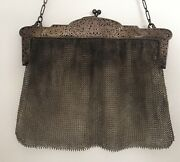 Antique Vintage 925 Sterling Silver Hinged Frame Mesh Purse Special Occasion