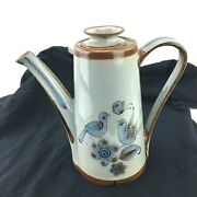 Ken Edwards Mexican Tonala Pottery Stoneware - Coffee Pot And Lid - Signed