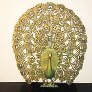 Vintage 1960s Burwood Large Gold Peacock Retro Mid Century Wall Hanging 34 X 30