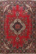10x12 Semi Antique Red/ Navy Floral Traditional Area Rug Wool Hand-knotted