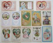 Lot Of 13 Valentine Antique Embossed Postcards W/ Romantic Couples And Flowers