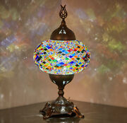 Battery Operated Turkish Moroccan Mosaic Colorful Boho Table Bedside Lamp Light