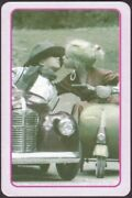 Playing Cards 1 Single Card Old Vintage Young Girl + Boy Kissing Kiss Pedal Cars