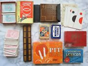 Vintage Card Games Lot Antique Playing Pieces Pit Rook Cribbage As-is Card Decks