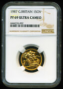 Gr. Britain 1987 Gold Coin Qe Ii Sovereign Ngc Certified Proof 69 Ultra Cameo