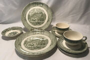 Antique/vintage Ceramic Dinner Set Old Water Mill/hand Plow Green Ivory 10 Pcs