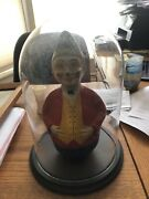 """Very Early Vintage Paper Mache Rolly Polly Clown Roly Poly 10.5"""" Under Glass Nm"""
