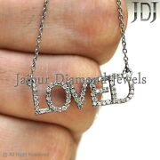 0.6ct Natural Diamond Loved Necklace 925 Solid Silver Name Jewelry Love Gifts