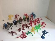 Lot Of 32 Antique Toy Cowboy And Indian Figures Marx Mpc Others