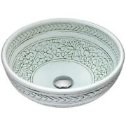 Anzzi Vessel Sink Glass Round Scratch-tough Stain-resistant Cottage Decor White