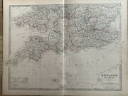 1886 South England And Wales Original Antique Hand Coloured Map By Johnston