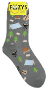 Camping Campfire Tent Woods Bbq Guitar Outdoors Grey Socks Foozys Womens 3 Pairs
