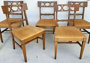 Set Of 5 Vintage Italian Provincial Duncan Phyfe Style Solid Wood Dining Chairs