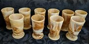 Nine 9 Vintage L. G. Wright Wreathed Cherry Caramel Slag Glass Footed Tumblers