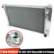 For 1967-1972 Chevy Gmc C/k Series Pickup Truck 3-row Aluminum Cooling Radiator