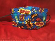 Adult/teen Zoom Zap Pow Whamm Super Hero Action Words Face Cover