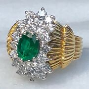 5200 18k Yellow Gold Oval Emerald G-h Diamond Halo Huge Vintage Ring Certified