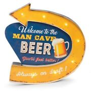 Man Cave Metal Sign With Led Lights Wall Mountable