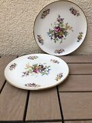 Pair Of Spode Flower Pattern Plates With Golden Border 8.25and039and039