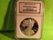 Lustrous 2005 W Silver Eagle Pf 70 Ultra Cameo By Ngc