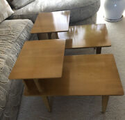 Heywood-wakefield Mid Century Modern Set/2 Matching End Tables Two Tier Wheat