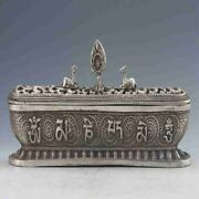 Decoration Collectible Tibet Silver Hand-carved Big Tower Dragon Incense Burner