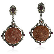18k Gold 1.7ct Pave Diamond Ruby Cameo Silver Dangle Earrings Victorian Jewelry