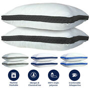 Bed Pillows Set Of 2 Gusseted Neck Support Soft Pillow For Side And Back Sleepers