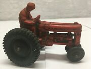 Antique Toy Vintage Auburn Rubber Red Farm Tractor With Black Hard Plastic Tires