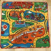 Vintage Rare Mcdonalds Happy Meal City Toy Car Rug Carpet 3and039 X 3and039 1999