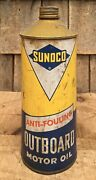 Vintage 1qt Sunoco Anti Fouling Outboard Motor Oil Tin Can Gas Service Station