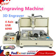 Usb 4 Axis Cnc 6090 Router Engraver Cutter 3d Carving Milling Machine 2.2kw + Rc